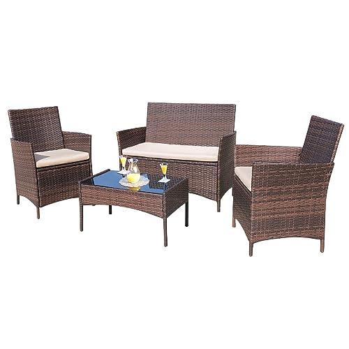 Homall 4 Pieces Outdoor Patio, Wicker Furniture Indoor Set