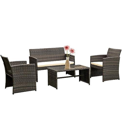 Fdw 4 Pieces Outdoor Patio, Outdoor Furniture Patio Sets