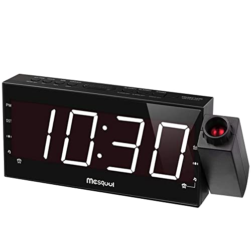 Mesqool Projection Alarm Clock For Bedroom Am Fm Radio Sleep Timer 180 Projector 7 Large Digital Led Display Dimmer Dual Alarms Usb Charger Battery Backup Desk Wall Ceiling Plug In Clock
