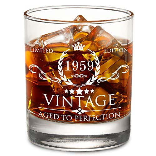 Buy 1959 60th Birthday Gifts For Men And Women Lowball Whiskey Glass Vintage Funny Anniversary Gift Ideas For Mom Dad Husband Wife 60 Years Gifts Party Favors Decorations For Him