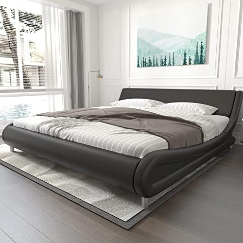 Modern Bed Frames Queen With Curved, Sleigh Bed Queen Size Mattress