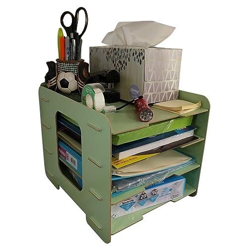 C K Solutions Four Tier Desk Organizer Paper Storage Desktop Office Organization Sorter Mint Green