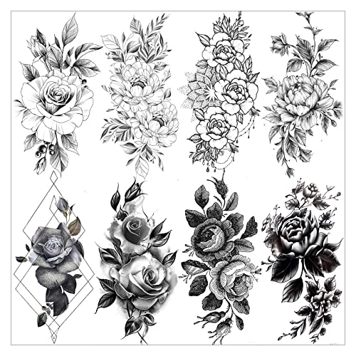 Vantaty 8 Sheets Petal 3d Black Flower Rose Temporary Tattoos For Women Waterproof Fake Body Art Arm Sketch Tattoo Stickers For Girls Shoulder Arm Leaf Tatoo Adults Beauty Buy Products Online