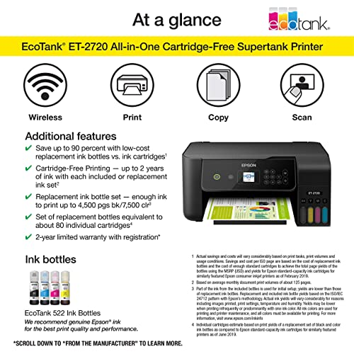 Epson Ecotank Et 2720 Wireless Color All In One Supertank Printer With Scanner And Copier Black Buy Products Online With Ubuy Singapore In Affordable Prices B07pw3q92w