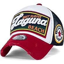 1b4b5880 ililily Laguna Beach Vintage Distressed Trucker Hat Snapback Baseball Cap